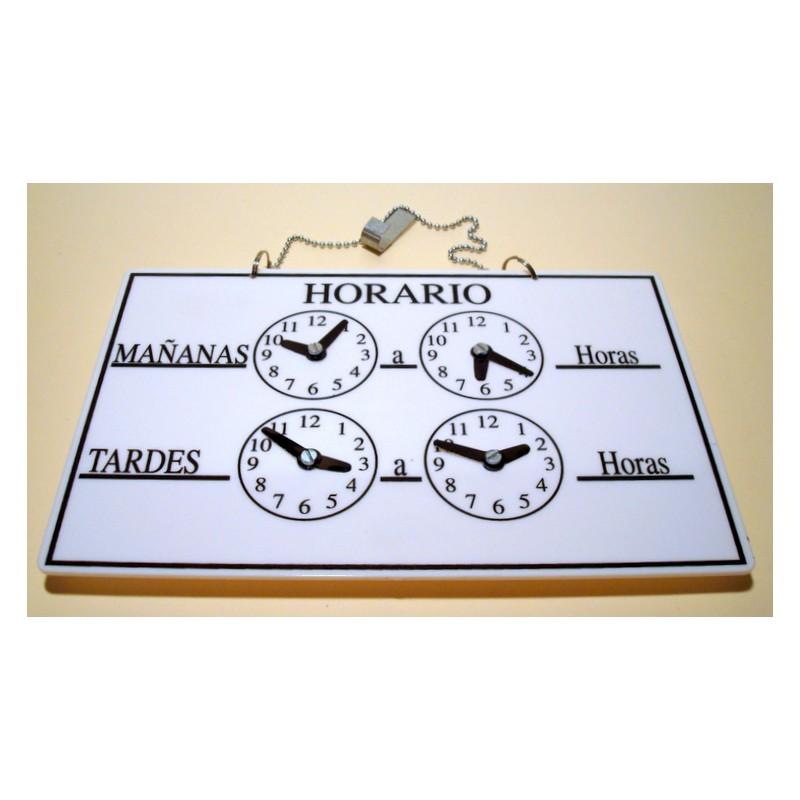 Cartel horario estanterias tapia for Horario de oficina naviera armas
